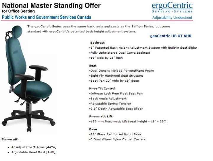 ergonomic office chairs on standing offer and supply arrangement